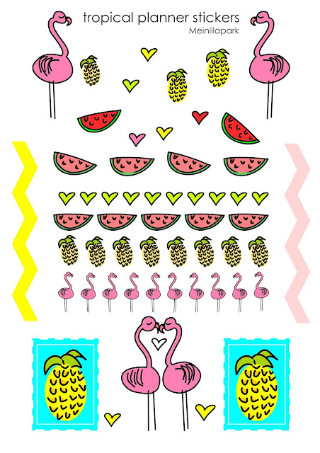 Another free printable tropical planner sticker sheet - Flamingosticker - freebie