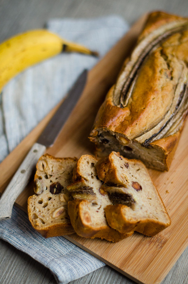 Banana bread aux noisettes healthy, sans lactose
