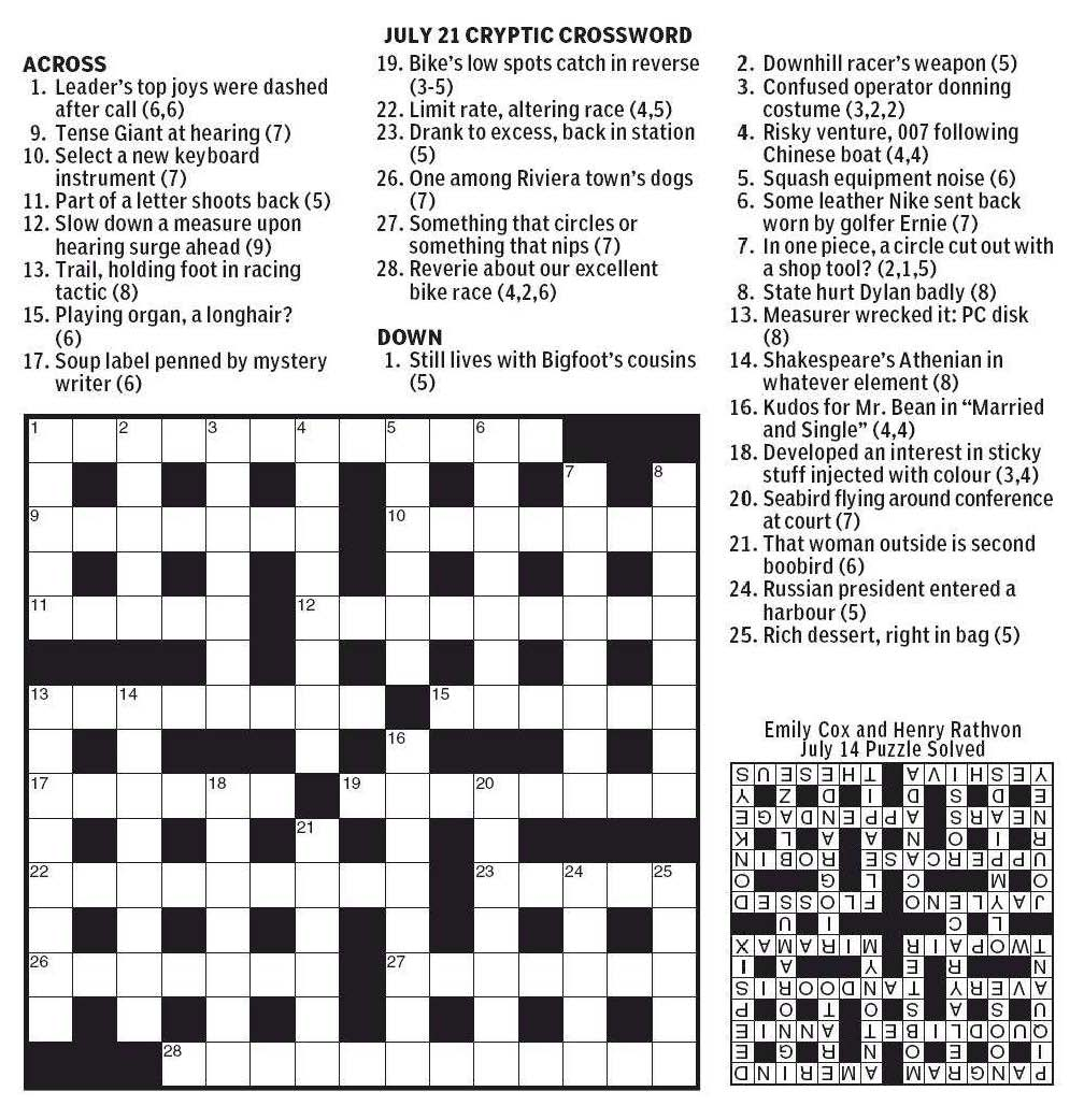 National Post Cryptic Crossword Forum Saturday July 21 2012 Final Stage