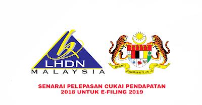 Senarai Pelepasan Cukai Pendapatan Individu 2018 Untuk e-Filing 2019