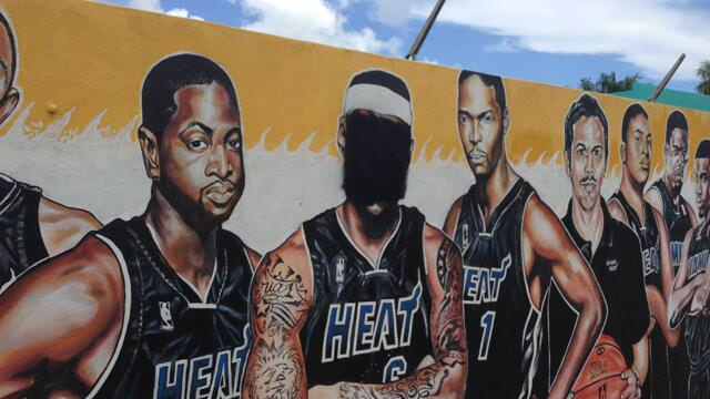 lebron james Defacing Mural miami heat fans haters