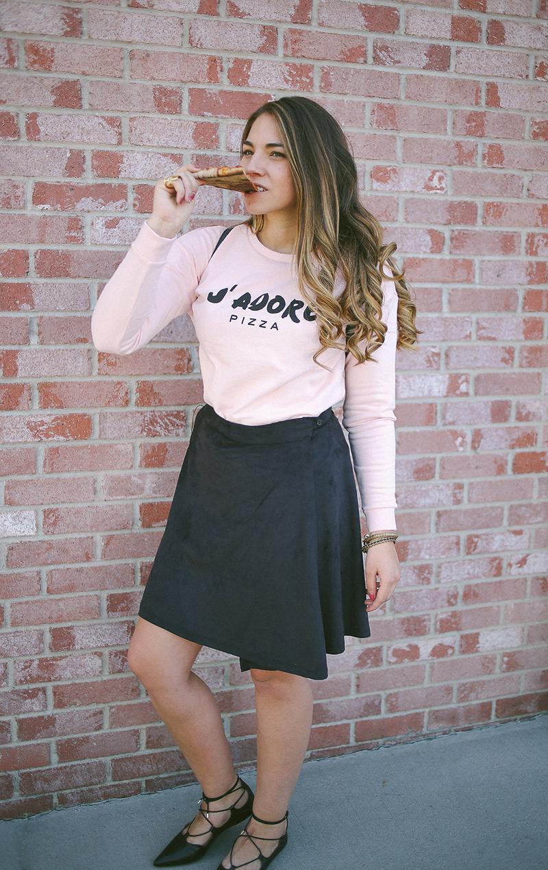 pizza sweatshirt, pink sweatshirt, lace up shoes
