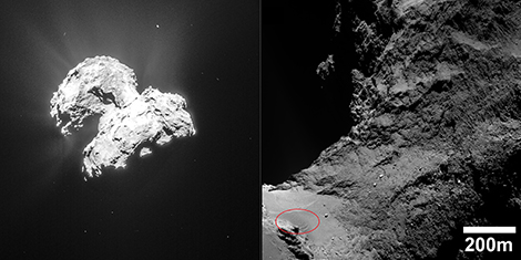 Left, an image of comet Chury showing outgassing of water vapor, which entrains dust (© ESA/Rosetta/NAVCAM). Right, the neck region, between the comet's two lobes. Various types of relief can be seen, including the dunes, at bottom left (circled in red), in the sandy region. Credit: ESA/Rosetta/MPS for OSIRIS Team MPS/UPD/LAM/IAA/SSO/INTA/UPM/DASP/IDA)