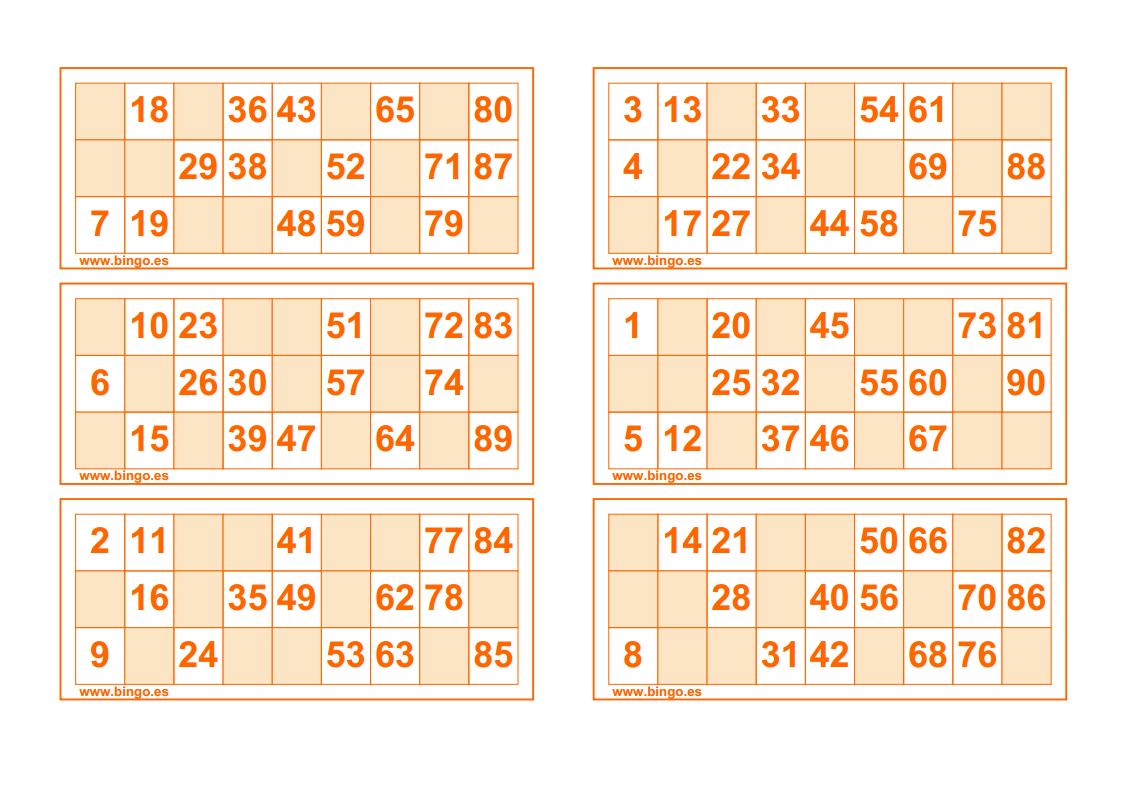 Imprimir Cartones De Bingo Pdf