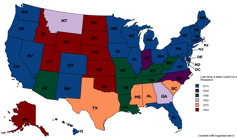 The last time a state voted for a Democrat for President