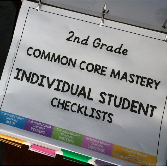 Easily organize and track math and ELA student progress for 1st & 2nd grade Common Core standards #firstgradecommoncorechecklists #secondgradecommoncorechecklists