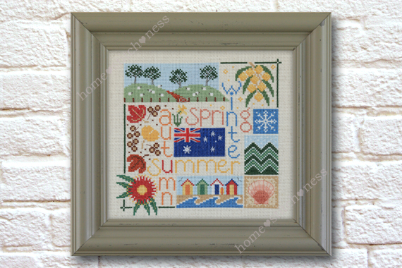 Four Seasons in Australia cross stitch design by homestitchness