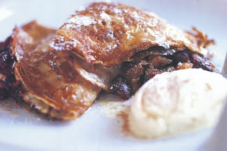 Fruit mince crepes with rum syrup and eggnog ice-cream  Recipe