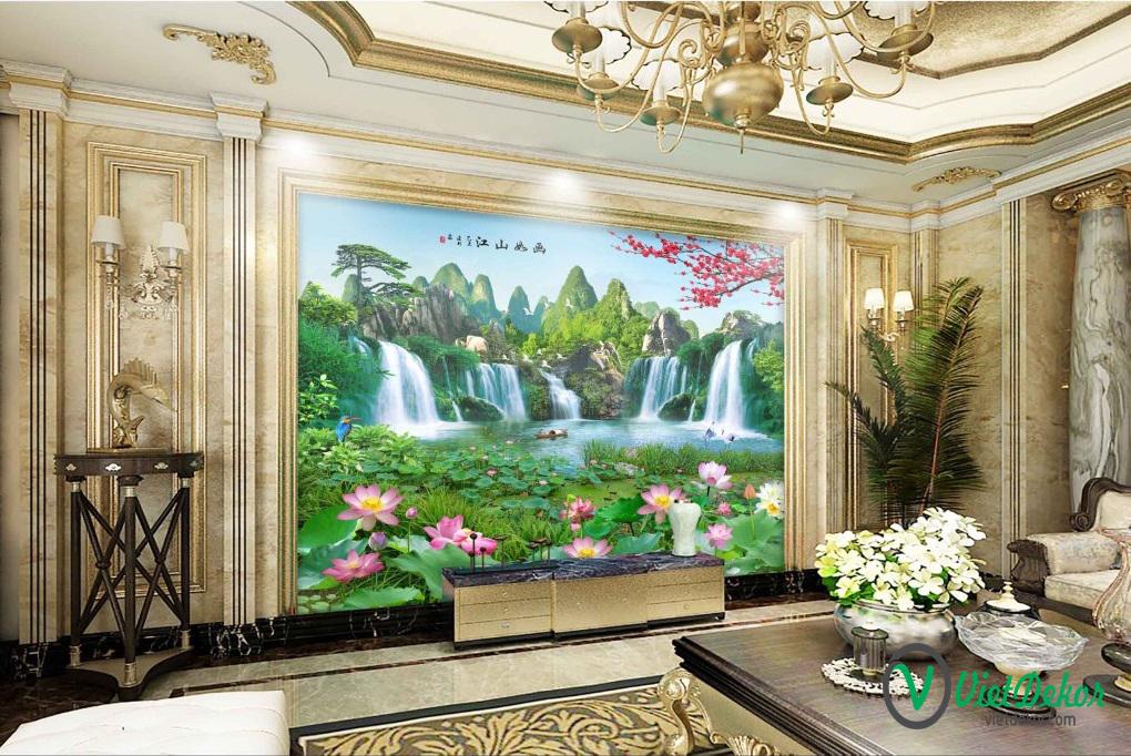 Tranh dán tường 3d phong thủy cây tùng thác nước hoa sen