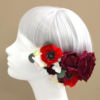 アネモネとローズの髪飾り_ウェディングブーケと花髪飾りairaka
