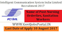 Intelligent Communication Systems India Limited Recruitment 2017– 861 Nursing Orderlies, Sanitation Workers