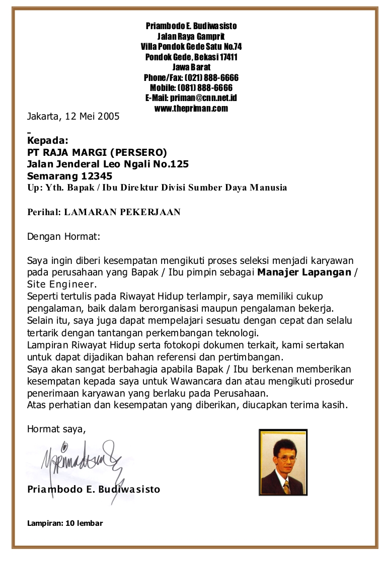 contoh cover letter resume email