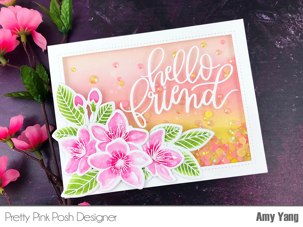Awesome To Begin, I Stamped The Beautiful Flowers And Leaves From Cherry Blossoms  And Wild Rose (just The Leaves) Stamp Sets With Versamark Ink And Embossed  It In ...