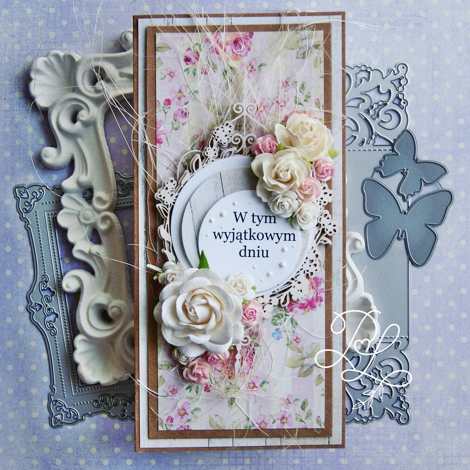 Warstwowa i ukwiecona kartka urodzinowa/imieninowa/ślubna w Papierowe Love - sklepie papierniczym i pracowni rękodzieła w Siechnicach.