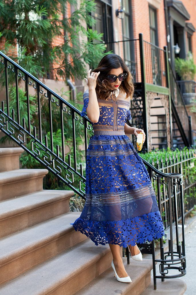 This Time Tomorrow Self-Portrait Blue Sheer Lace Midi Dress