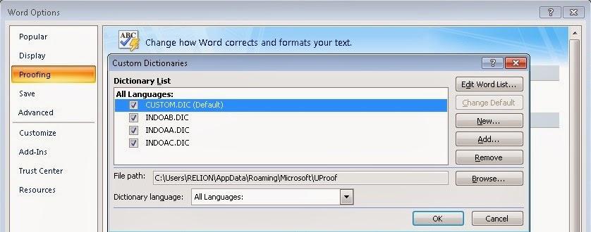 cara menambahkan kamus pada ms word 2007