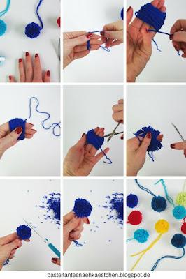 Collage Pompoms (Bommel) mit den Fingern (Hand) selber machen
