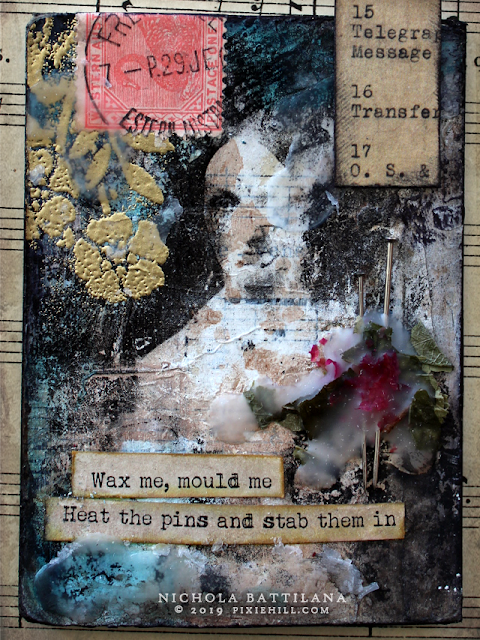 Radiohead/Kate Bush lyric mixed media ATC's - Nichola Battilana
