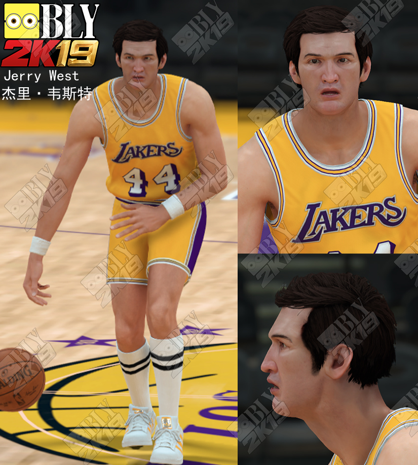 huge selection of 11767 ebd7c NBA 2K19 Jerry West Cyberface (All-Time Lakers) by BLY ...