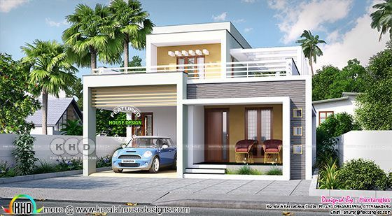 2129 square feet 3 bedroom flat roof box model home