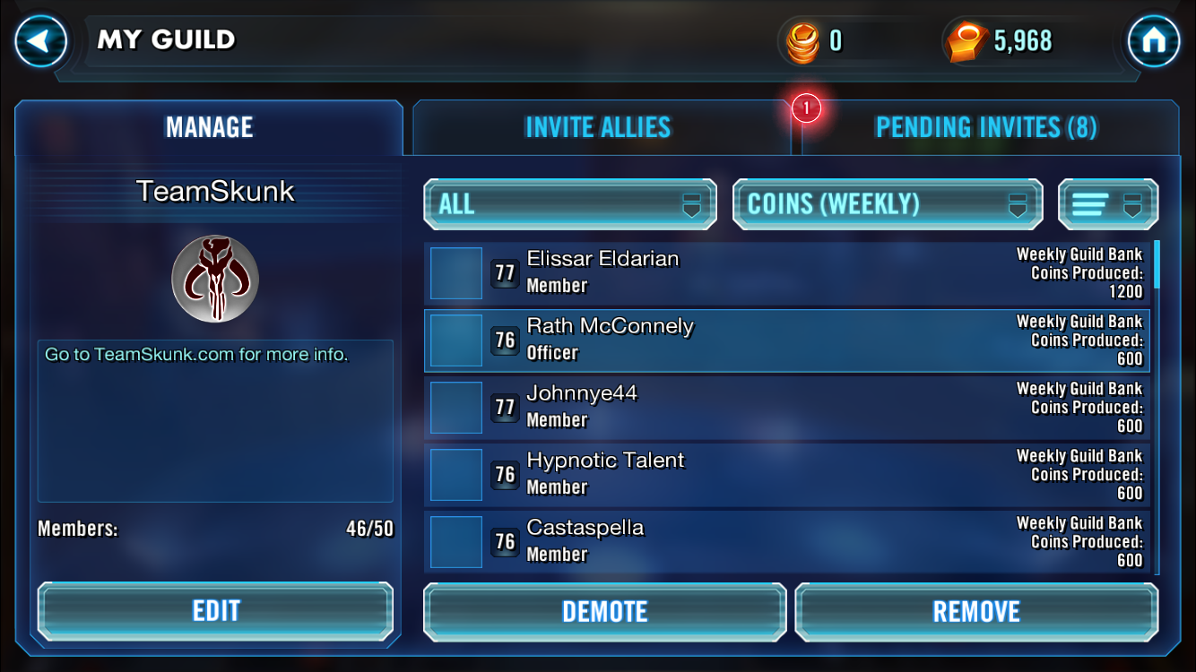 star wars galaxy of heroes how to join team skunk