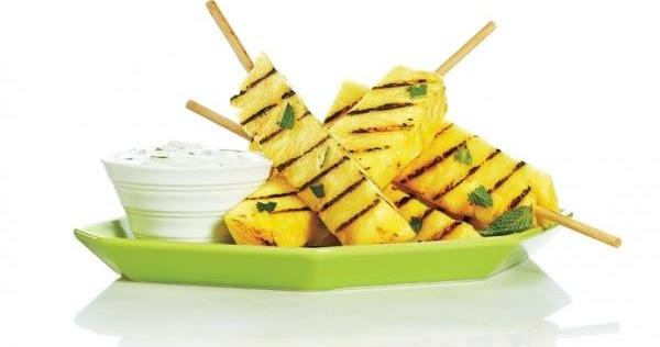 The Recipe File: Grilled Pineapple Skewers with Honey Lime Yogurt Dip