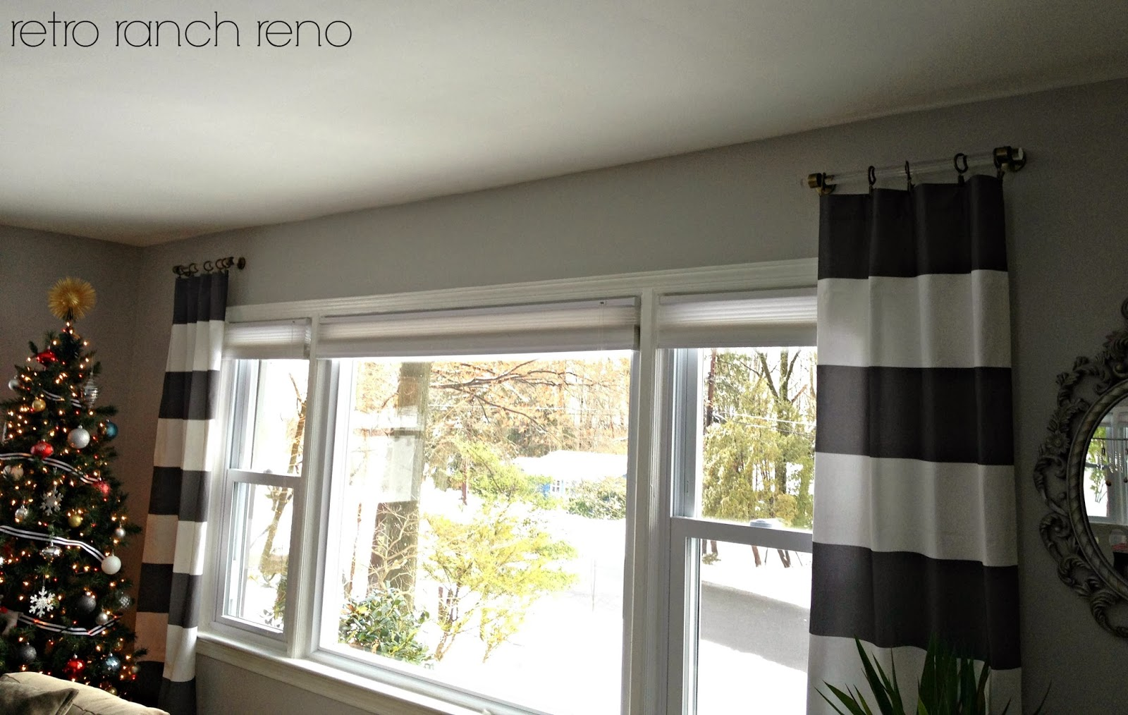 Retro ranch reno lucite curtain rods a question - Long or short curtains in living room ...