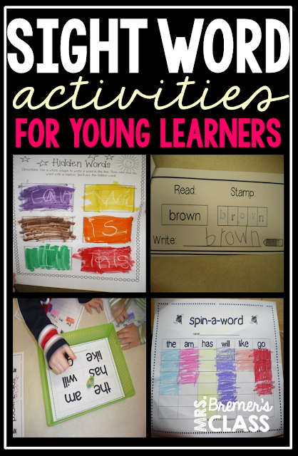 Lots of sight word literacy activity centers for Kindergarten and First Grade