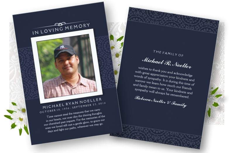 navy blue & white photo sympathy memorial thank you card designed by Julie Alvarez