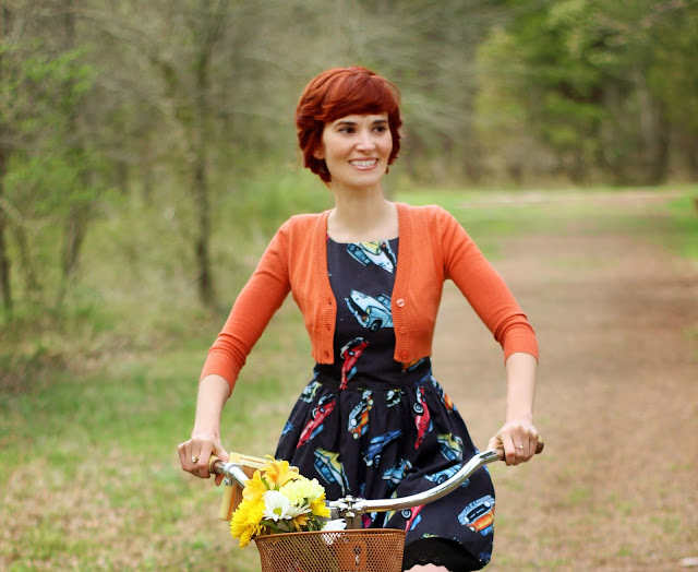 ModCloth Dream of the Crop Cardigan and The Other Sparrows Vintage Cars Sundress