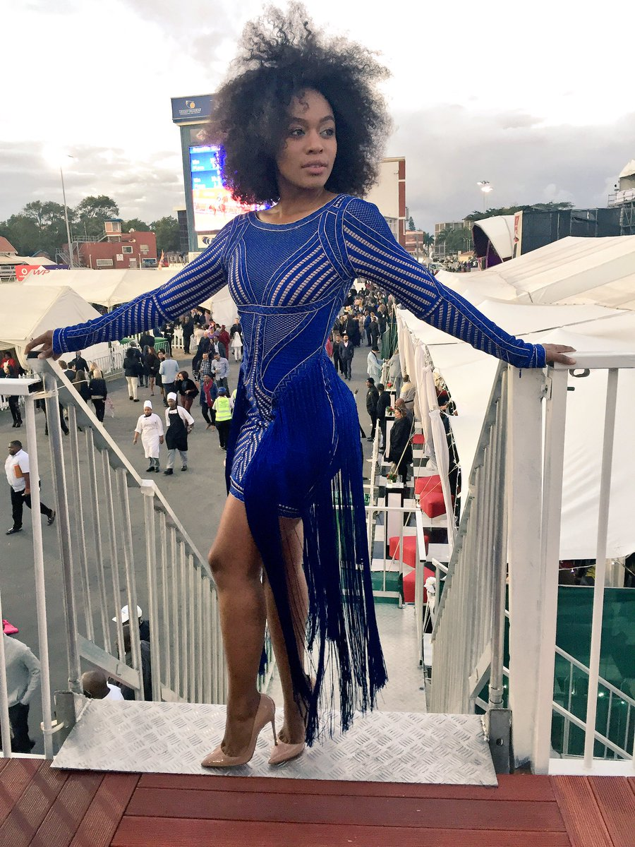 Video Nomzamo Mbatha Dressed Blue Herv 232 Leger Bodycon At