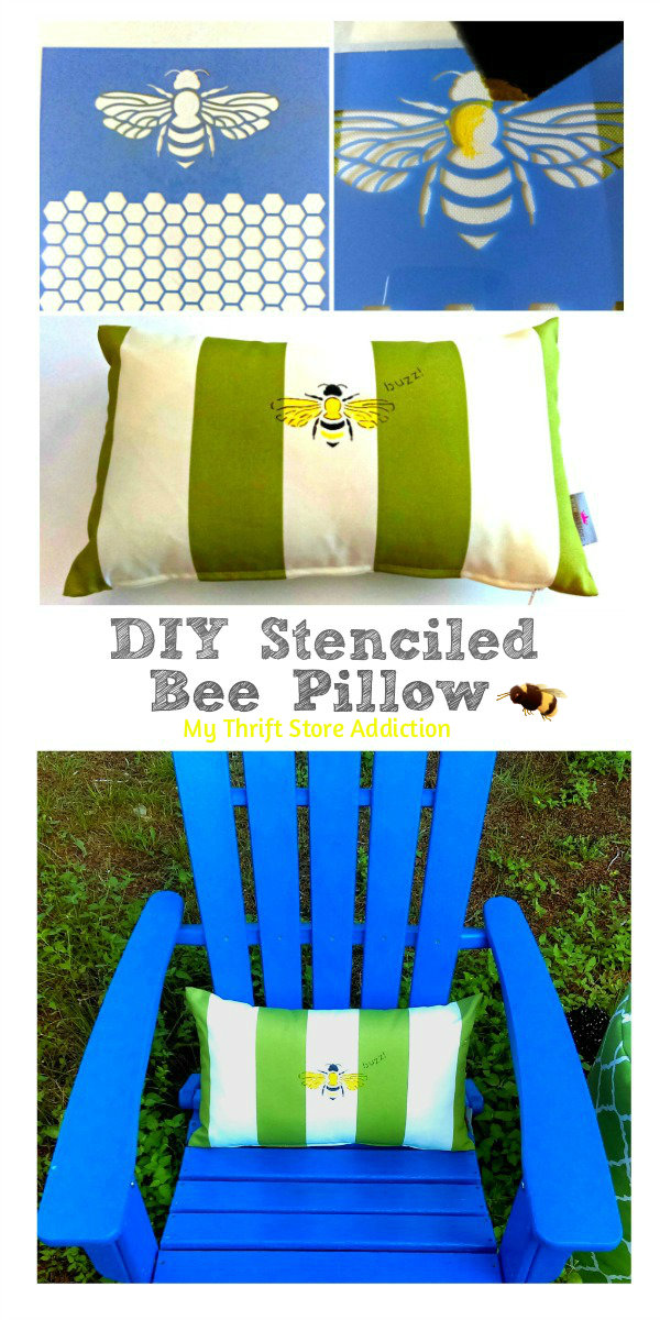 DIY Stenciled Bee Pillow mythriftstoreaddiction.blogspot.com How to stencil an outdoor pillow with paint and Sharpies: PIN