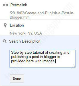 Search description or meta tag in blogger
