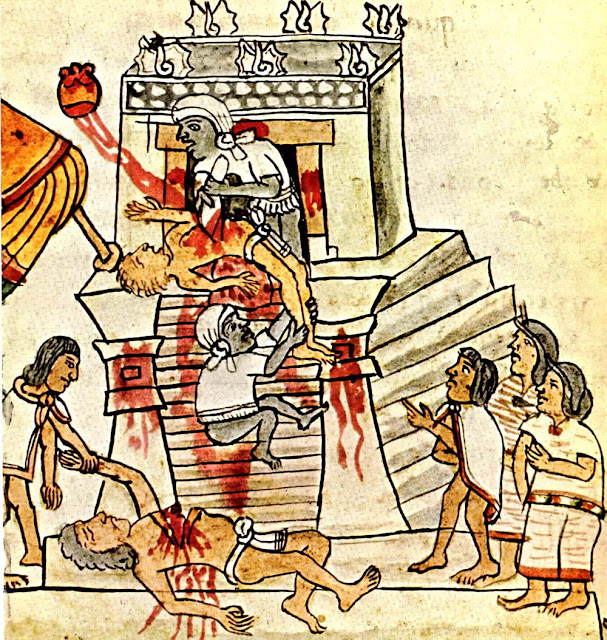 Aztec ritual human sacrifice portrayed in the page 141 (folio 70r) of the Codex Magliabechiano. 16th century