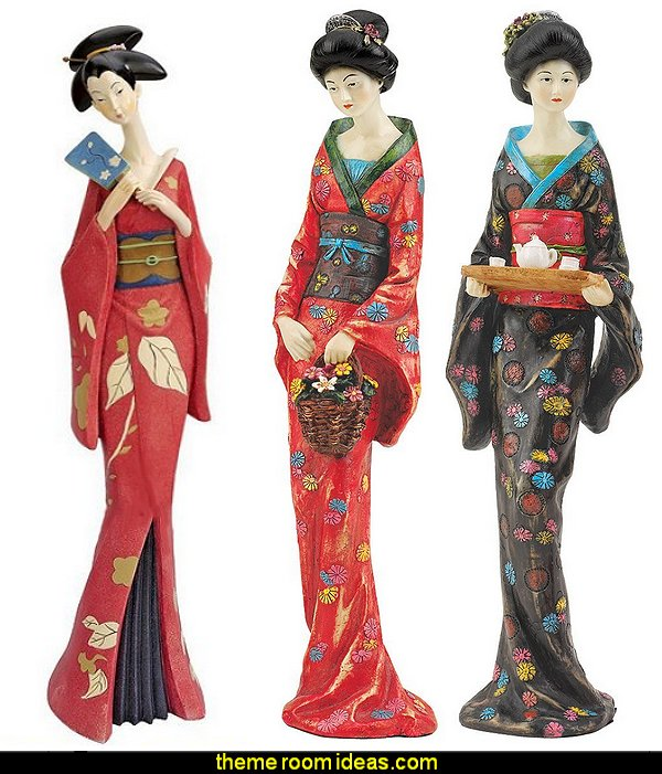 Japanese Geisha Statues  oriental theme bedroom decorating ideas - asian themed bedroom decorating ideas - Asian Decor - Oriental Decor - Japanese Inspired Bedrooms - Chinese theme decorating ideas - China and Japan Asian Style - Asian dragon themed