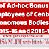 Grant of Ad-hoc Bonus to Central Autonomous Bodies for 2015-16 and 2016-17 - Secretary (Staff Side) NCJCM letter