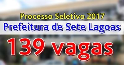 concurso Prefeitura de Sete Lagoas MG 2017