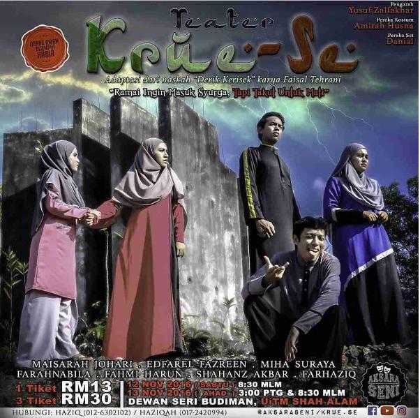 teater, poster, krue-se, uitm shah alam, aksara seni