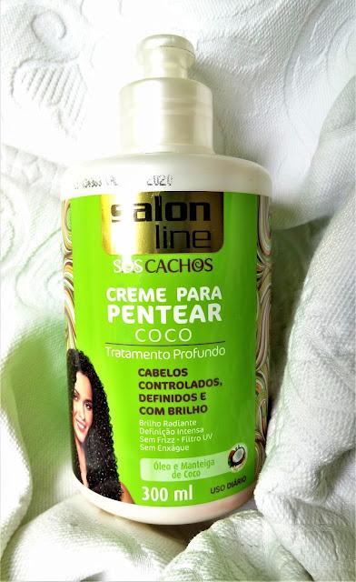 Creme para pentear para cabelos cacheados Salon Line óleo de coco.