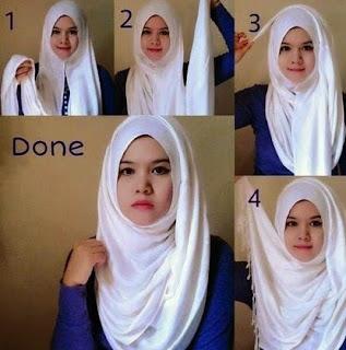 Tutorial hijab pashmina wajah bulat sederhana