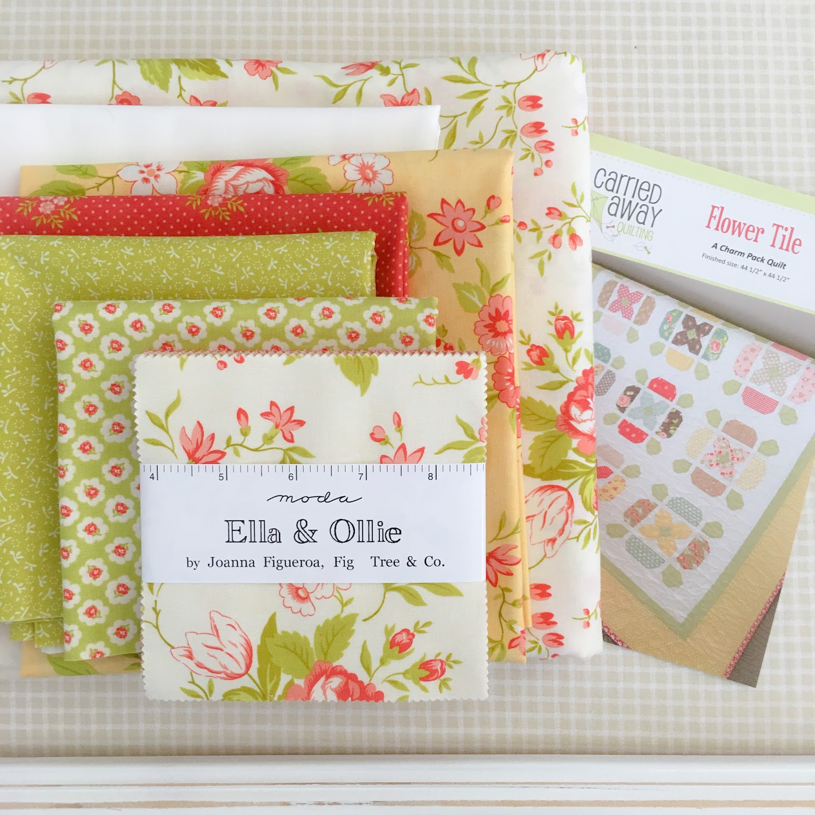 Flower Tile  Quilt Kit with Ella /& Ollie Moda Fabric by Fig Tree