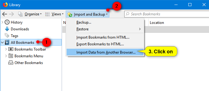 Import bookmarks from Chrome to Firefox
