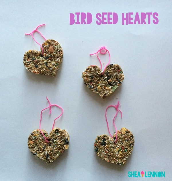 Bird Seed Hearts, an easy to make, fun, non-candy treat to give to friends.