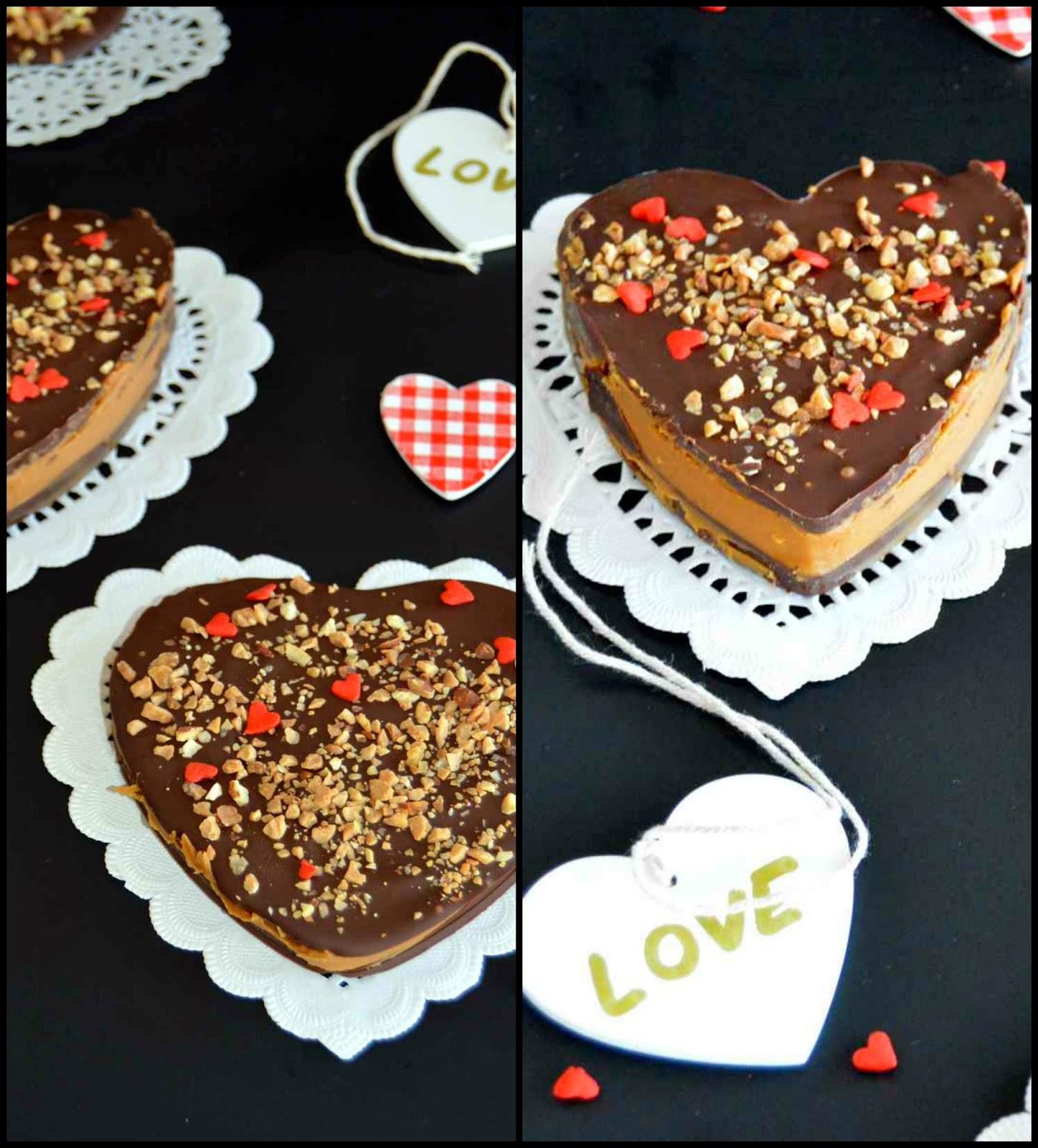 Chocolatina corazon de chocolate negro rellena de pasta de Speculoos