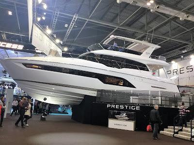 Sideways view of Prestige brand motor yacht