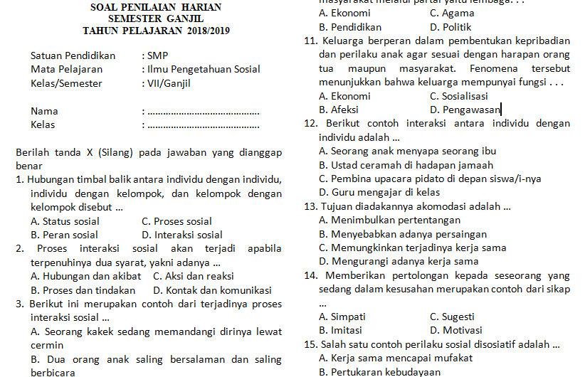 Kumpulan Soal Penilaian Harian Ips Kelas 7 Semester Ganjil Bab 2 Didno76 Com