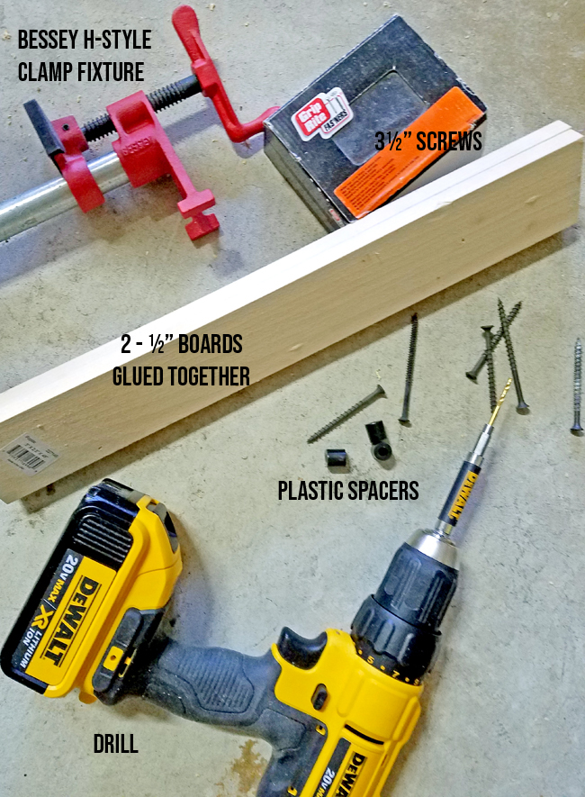 the materials and tools you'll need for creating an easy clamp holder