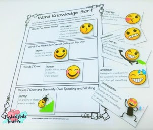 word knowledge continuum sort for character traits