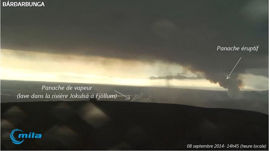L'activité du volcan Bardarbunga, dans la plaine d'Holuhraun,8 septembre 2014