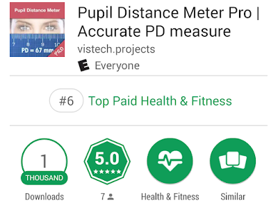 Pupil Distance Meter Pro ranked #6  in top paid Health and Fitness